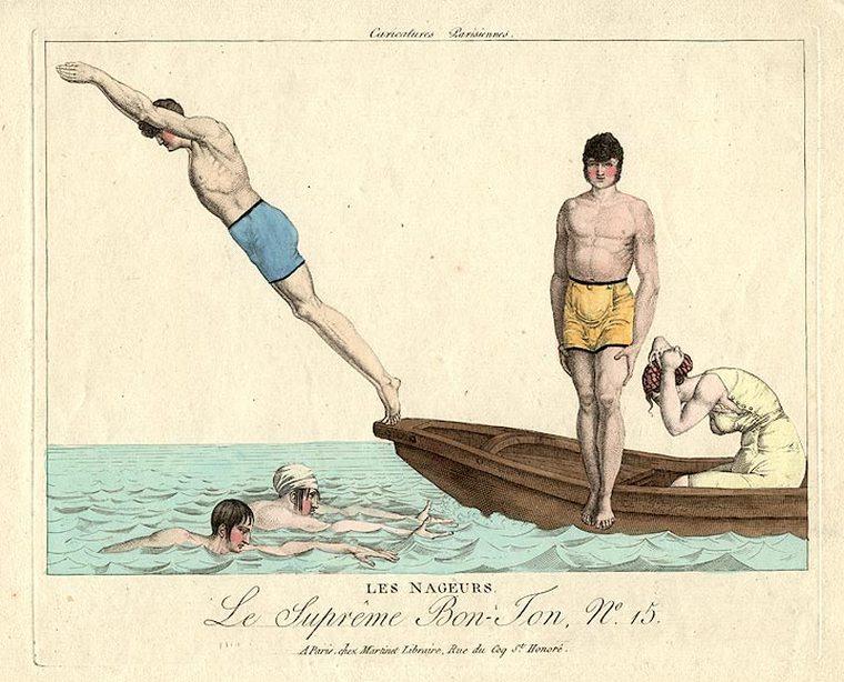 Ныряет с лодки