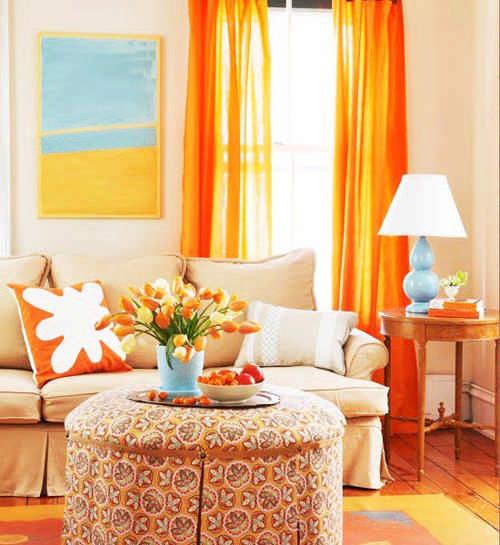 оранжевые занавески