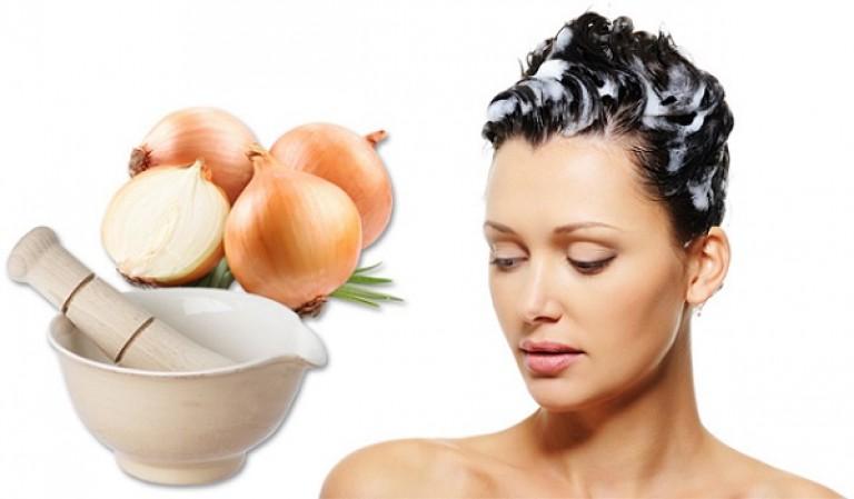 маски против выпадения волос с луком