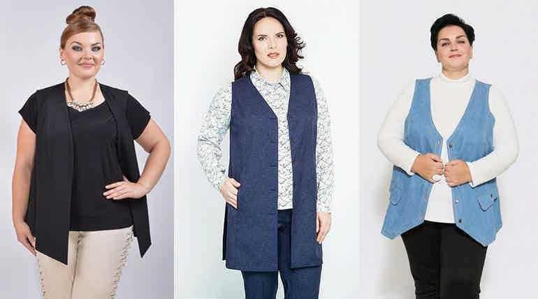 жилеты для полных женщин подбираем модные и удачные модели