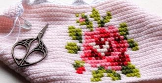 как на вязаном сделать вышивку