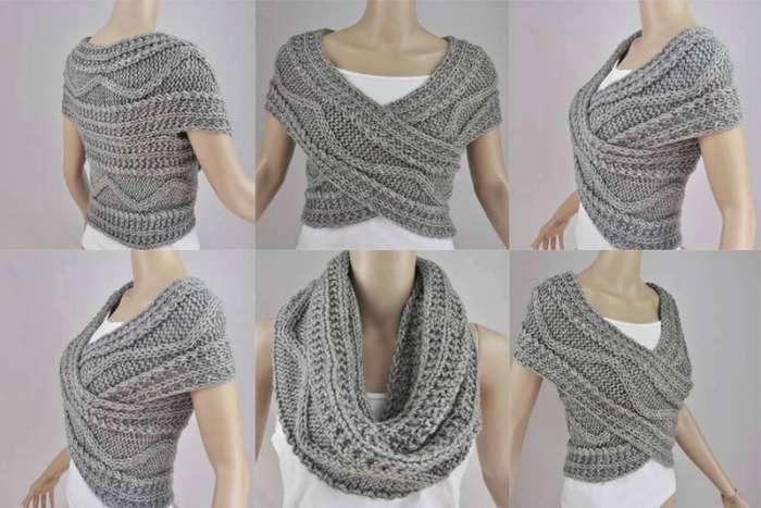 Как связать стильный шарф трансформер спицами