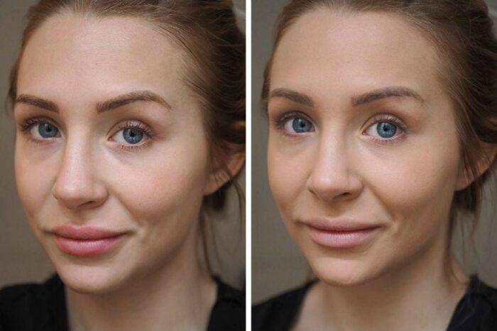 лицо до и после нанесения праймера